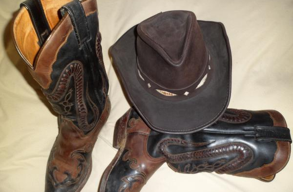 Countrystiefel-and-Westernhut-bestes-Leder-°!°